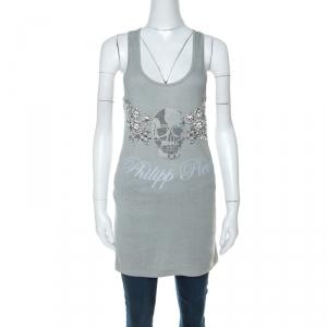 Philipp Plein Grey Cotton Crystal Skull Embellished Sleeveless Tank Top XS
