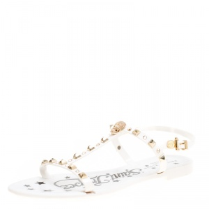 Philipp Plein White Jelly Crystal Skull Embellished T Strap Sandals Size 39