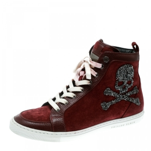 Philip Plein Maroon Sude and Leather Embellished Skull High Top Sneakers Size 38