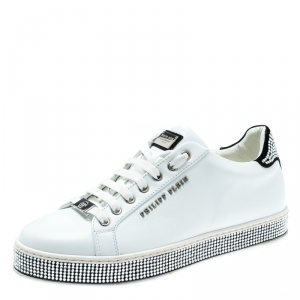 Philipp Plein White Leather Crystal Embellished Lace Up Sneakers Size 40