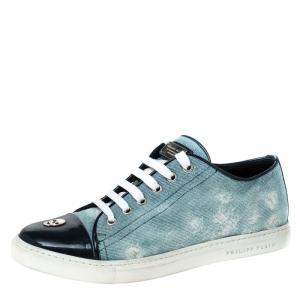Philipp Plein Blue Denim Skull Cap Toe Lace Up Low Top Sneakers Size 37.5