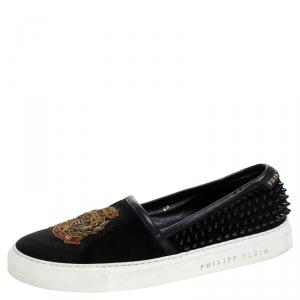 Philipp Plein Black Suede Spike Embellished Slip On Sneakers Size 40