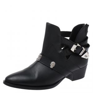 Philipp Plein Black Leather Skull Detail Ankle Boots Size 37 - used