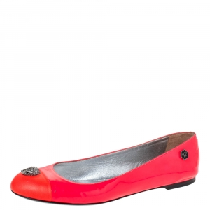 Philipp Plein Neon Pink Patent Leather Embellished Skull Cap Toe Ballet Flats Size 37.5 - used