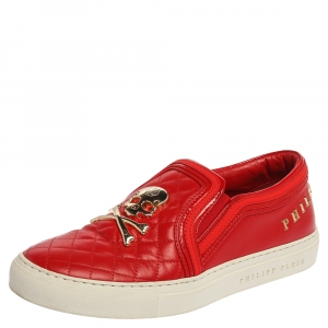 Philipp Plein Red Leather Skull Embellished Slip On Sneakers Size 38