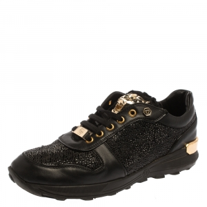 Philipp Plein Black Suede And Leather Embellished Low Top Sneakers Size 40