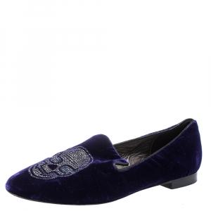Philipp Plein Purple Velvet Crystal Skull Smoking Slippers Size 35