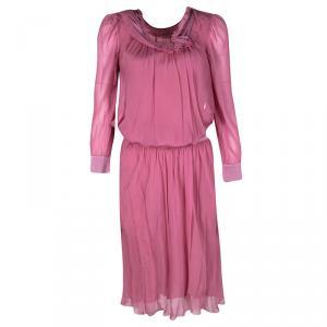 Philosophy di Alberta Ferretti Pink Silk Frayed Neck Detail Long Sleeve Dress S