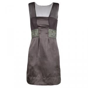 Philosophy di Alberta Ferretti Grey Embroidered Sleeveless Silk Dress S - used