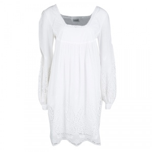 Philosophy di Alberta Ferretti White Eyelet Embroidered Cotton Long Sleeve Dress M