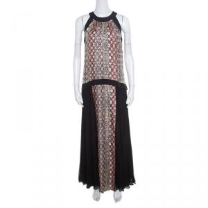 Philosophy Multicolor Snakeskin Printed Silk Pleat Detail Sleeveless Maxi Dress S - used