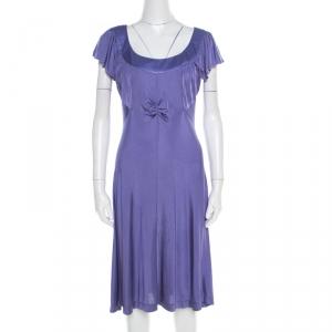 Philosophy di Alberta Ferretti Purple Jersey Ruched Bodice Detail Dress L - used