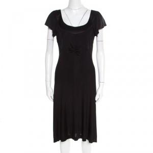 Philosophy di Alberta Ferretti Black Knit Ruched Front Flutter Sleeve Dress L - used
