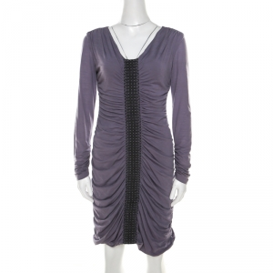 Philosophy Di Alberta Ferretti Lilac Jersey Embroidered Ruched Detail Dress M - used