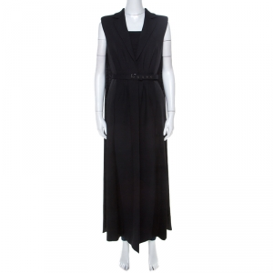 Philosophy Black Wool and Satin Padded Shoulder Detail Sleeveless Long Vest M
