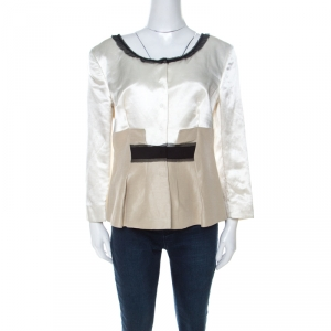 Philosophy di Alberta Ferretti White and Beige Silk and Linen Lace Trimmed Jacket L