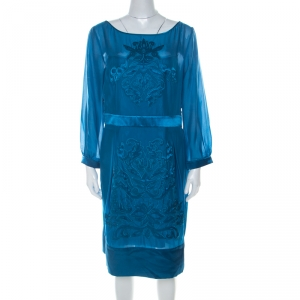 Philosophy di Alberta Ferretti Teal Blue Cut Out Applique Detail Silk Dress L - used