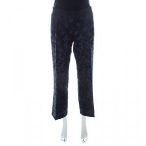 Philosophy di Alberta Ferretti Navy Blue & Black Jacquard Trousers L