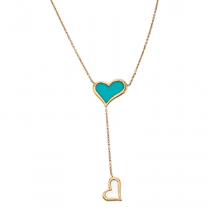 Piaget Turquoise Mother of Pearl Heart Inlay 18k Yellow Gold Y Necklace