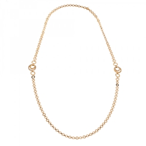 Piaget Possession Diamond 18K Rose Gold Hoop Link Sautoir Necklace