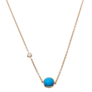 Piaget Possession Diamond Turquoise 18K Rose Gold Pendant Necklace