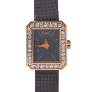 Piaget Gray Diamonds 18K Rose Gold Mini Protocol Women's Wristwatch 15 x 18 MM