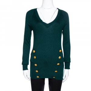 Pierre Balmain Green Cashmere & Wool Blend Button Detail Sweater S - used