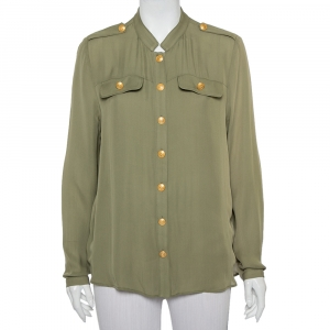Pierre Balmain Military Green Silk Half Collar Button Front Shirt S