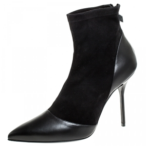Pierre Hardy Black Suede And Leather Dolly Pointed Toe Ankle Boots Size 42 -
