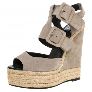 PIERRE HARDY Grey Suede Ankle Strap Espadrille Platform Wedge Sandals Size 40 - used