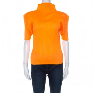 Pleats Please By Issey Miyake Orange Plisse Pleated High Neck Top S