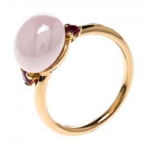 Pomellato Capri Bloom Pink Ceramic & Ruby 18k Rose Gold Ring Size 53