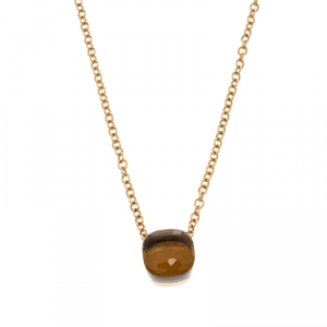 Pomellato Nudo Citrine Quartz 18k Rose Gold Pendant Chain Necklace