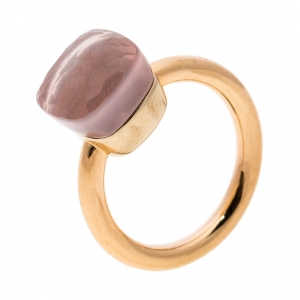 Pomellato Nudo Pink Quartz 18k Rose Gold Ring Size 50