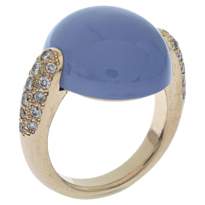 Pomellato Luna Chalcedony Diamond 18K Yellow Gold Cocktail Ring Size 53