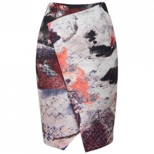 Prabal Gurung Asymmetric Printed Satin Skirt M