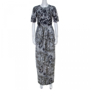 Prabal Gurung Metallic Silver & Navy Jacquard Short Sleeve Dress S