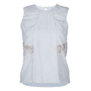 Prabal Gurung White Lace Insert Sleeveless Top S - used