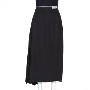 Prada Black Crepe Pleated Asymmetric Midi Skirt L