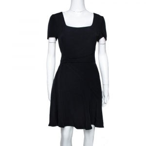 Prada Black Cady Crepe Short Sleeve Flared Dress M