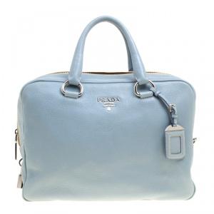 Prada Dusty Blue Vitello Diano Leather Bowler Bag