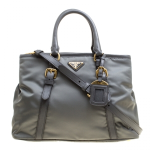Prada Grey Tessuto Saffiano Top Handle Bag