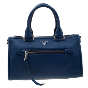 Prada Blue Leather Front Zip Convertible Bowler Bag