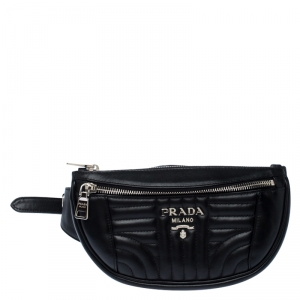 Prada Black Diagramme Leather Belt Bag