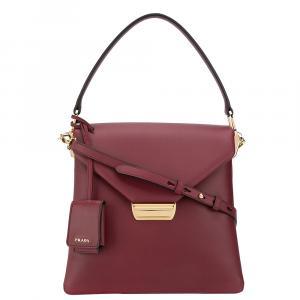 Prada Red Leather Ingrid Top Handle Bag