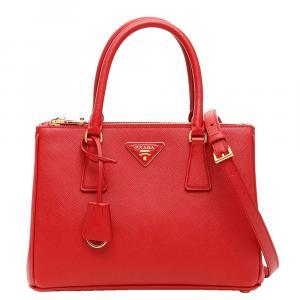 حقيبة يد برادا غاليريا سافيانو جلد حمراء
