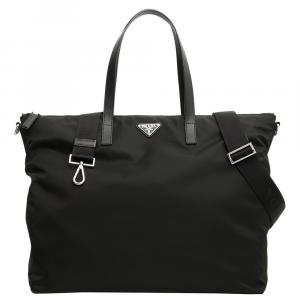 Prada Black Nylon Fabric Tote Bag