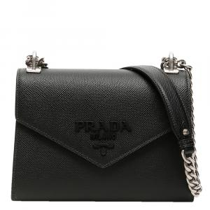 Prada Black Leather Monochrome Bag