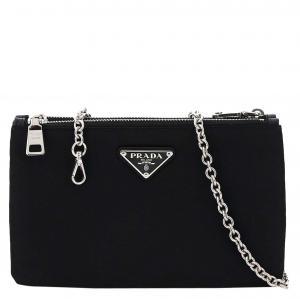 Prada Black Nylon Double Zip Chain Mini bag