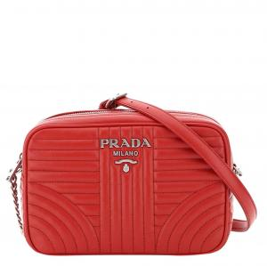 Prada Black Red Leather Diagramme Small Bag